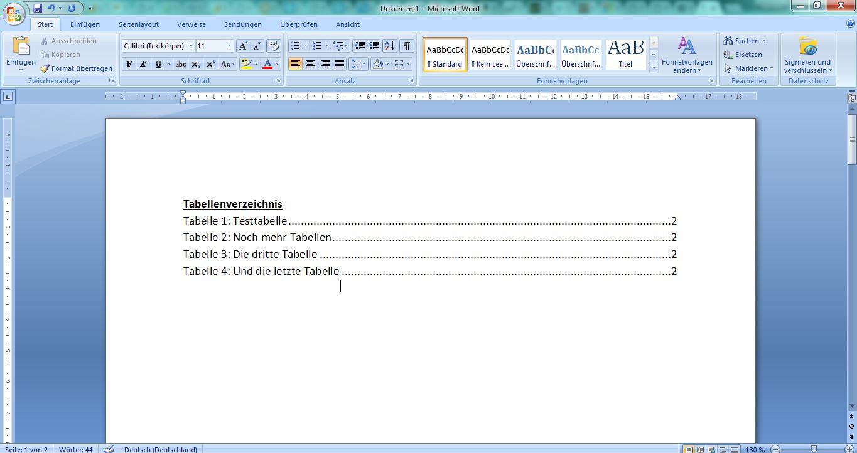 Tabellenverzeichnis Beispiel Word